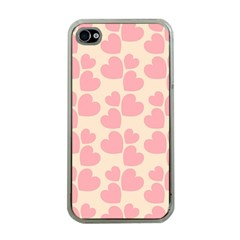 Cream And Salmon Hearts Apple Iphone 4 Case (clear)