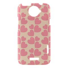 Cream And Salmon Hearts HTC One X Hardshell Case