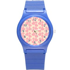 Cream And Salmon Hearts Plastic Sport Watch (small)