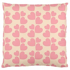 Cream And Salmon Hearts Large Cushion Case (two Sided)
