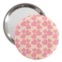 Cream And Salmon Hearts 3  Handbag Mirror