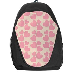 Cream And Salmon Hearts Backpack Bag