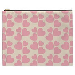 Cream And Salmon Hearts Cosmetic Bag (xxxl)