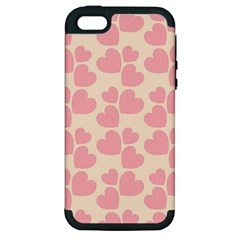 Cream And Salmon Hearts Apple iPhone 5 Hardshell Case (PC+Silicone)