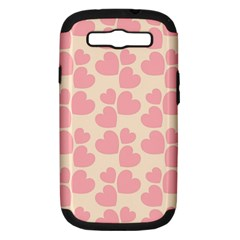 Cream And Salmon Hearts Samsung Galaxy S Iii Hardshell Case (pc+silicone)