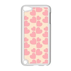 Cream And Salmon Hearts Apple iPod Touch 5 Case (White)