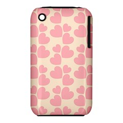 Cream And Salmon Hearts Apple Iphone 3g/3gs Hardshell Case (pc+silicone)