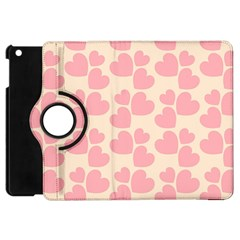 Cream And Salmon Hearts Apple iPad Mini Flip 360 Case