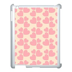 Cream And Salmon Hearts Apple Ipad 3/4 Case (white)