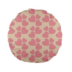 Cream And Salmon Hearts 15  Premium Round Cushion