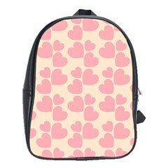 Cream And Salmon Hearts School Bag (XL)