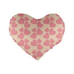 Cream And Salmon Hearts 16  Premium Heart Shape Cushion