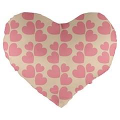 Cream And Salmon Hearts 19  Premium Heart Shape Cushion