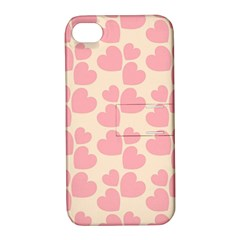 Cream And Salmon Hearts Apple iPhone 4/4S Hardshell Case with Stand