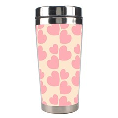 Cream And Salmon Hearts Stainless Steel Travel Tumbler