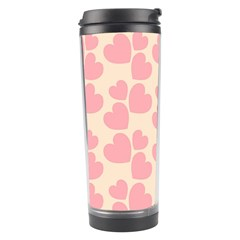 Cream And Salmon Hearts Travel Tumbler