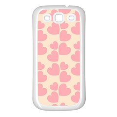 Cream And Salmon Hearts Samsung Galaxy S3 Back Case (white)