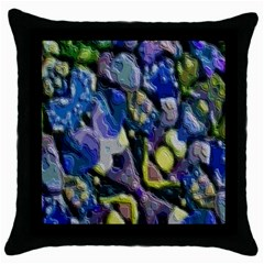 Sculpted Layers Black Throw Pillow Case