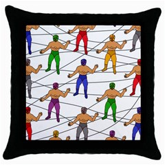 Lucha Libre Black Throw Pillow Case