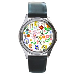 Summer Florals Round Leather Watch (Silver Rim)