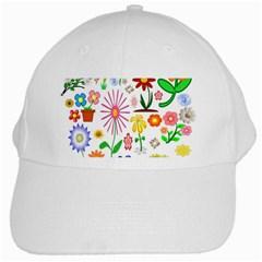 Summer Florals White Baseball Cap