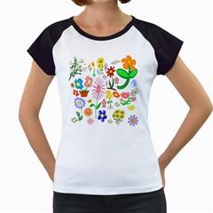 Summer Florals Women s Cap Sleeve T Shirt (white)