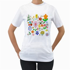 Summer Florals Women s Two Sided T Shirt (white)