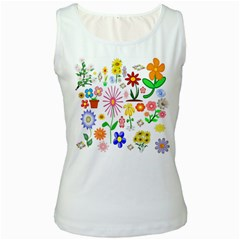 Summer Florals Women s Tank Top (white)