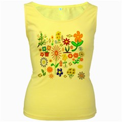 Summer Florals Women s Tank Top (Yellow)