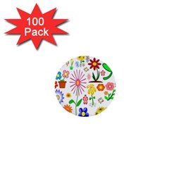 Summer Florals 1  Mini Button (100 Pack)