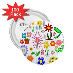 Summer Florals 2.25  Button (100 pack)