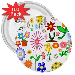 Summer Florals 3  Button (100 pack)