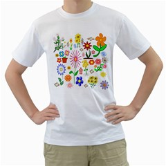 Summer Florals Men s Two-sided T-shirt (White)