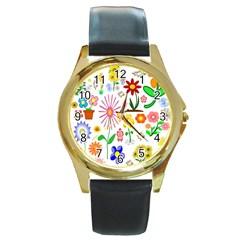 Summer Florals Round Leather Watch (gold Rim)