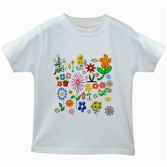 Summer Florals Kids T-shirt (White)