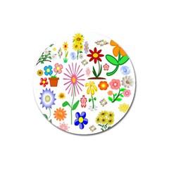 Summer Florals Magnet 3  (round)