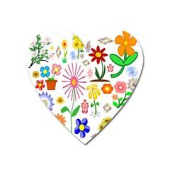 Summer Florals Magnet (Heart)