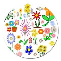 Summer Florals Magnet 5  (Round)