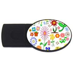 Summer Florals 2GB USB Flash Drive (Oval)