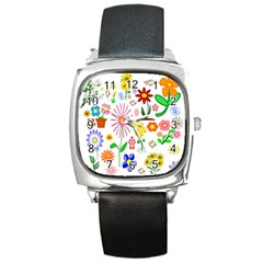Summer Florals Square Leather Watch