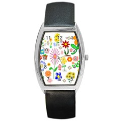 Summer Florals Tonneau Leather Watch