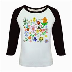 Summer Florals Kids Long Cap Sleeve T-Shirt