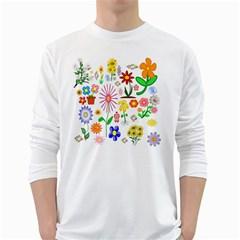 Summer Florals Men s Long Sleeve T-shirt (White)