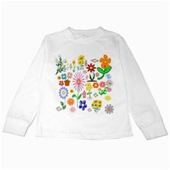Summer Florals Kids Long Sleeve T-Shirt