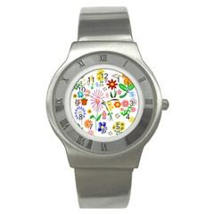 Summer Florals Stainless Steel Watch (Slim)