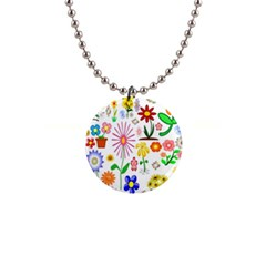 Summer Florals Button Necklace