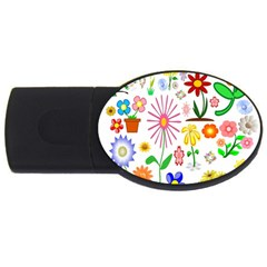 Summer Florals 4GB USB Flash Drive (Oval)
