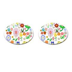 Summer Florals Cufflinks (Oval)