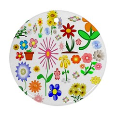 Summer Florals Round Ornament (Two Sides)