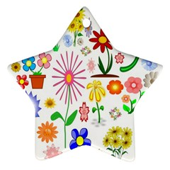 Summer Florals Star Ornament (Two Sides)